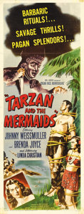 "Movie Posters:Adventure, Tarzan and the Mermaids (RKO, 1948). Insert (14"" X 36""). This wasthe last Tarzan film that Johnny Weissmuller would make be..."