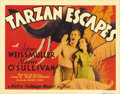 "Movie Posters:Action, Tarzan Escapes (MGM, 1936). Title Lobby Card (11"" X 14""). JohnnyWeissmuller and Maureen O'Sullivan star in one of the best ..."