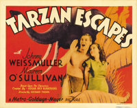 "Tarzan Escapes (MGM, 1936). Title Lobby Card (11"" X 14""). Johnny Weissmuller and Maureen O'Sullivan star in on..."