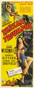 "Movie Posters:Action, Tarzan Triumphs (RKO, 1943). Insert (14"" X 36""). Johnny Weissmullerreturns to the screen as Edgar Rice Burroughs's legendar..."