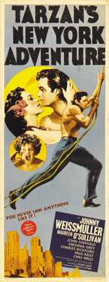 """Tarzan's New York Adventure (MGM, 1942). Insert (14"""" X 36""""). Offered in this lot is the poster released for th..."""