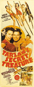 "Movie Posters:Adventure, Tarzan's Secret Treasure (MGM, 1941). Insert (14"" X 36""). JohnnyWeissmuller and Maureen O'Sullivan reprise their roles as T..."