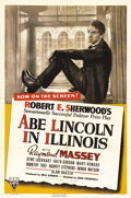 "Movie Posters:Drama, Abe Lincoln in Illinois (RKO, 1940). One Sheet (27"" X 41""). Raymond Massey portrays Abraham Lincoln through his early years ..."
