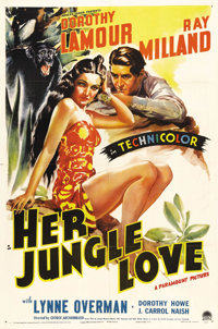 """Her Jungle Love (Paramount, 1938). One Sheet (27"""" X 41""""). Crocodiles, savages, and Dorothy Lamour in a sarong..."""