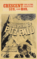 "Movie Posters:Adventure, White Hell of Pitz Palu (Universal, 1929). Window Card (14"" X 22"").Famed director G.W. Pabst created a spectacular adventur..."