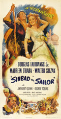 "Movie Posters:Adventure, Sinbad the Sailor (RKO, 1946). Three Sheet (41"" X 81""). DouglasFairbanks, Jr. nostalgically emulates his famous father as h..."