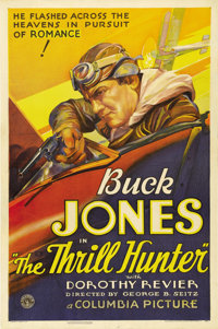 "The Thrill Hunter (Columbia, 1933). One Sheet (27"" X 41""). Fantastic stone litho artwork of Buck Jones in an a..."