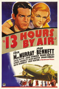 "Movie Posters:Mystery, 13 Hours by Air (Paramount, 1936). One Sheet (27"" X 41""). Making atranscontinental plane flight in only thirteen hours was ..."