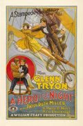 """Movie Posters:Comedy, A Hero for a Night (Universal, 1927). One Sheet (27"""" X 41""""). Thisfilm stars Glenn Tryon as Hiram Hastings, a cabdriver who ..."""