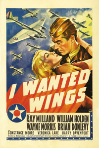 "I Wanted Wings (Paramount, 1941). One Sheet (27"" X 41""). Veronica Lake's star-making role was in this actioner..."