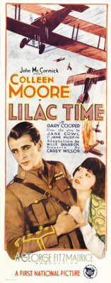 """Lilac Time (First National, 1928). Insert (14"""" X 36""""). Hard on the heels of """"Wings,"""" Gary Cooper ret..."""