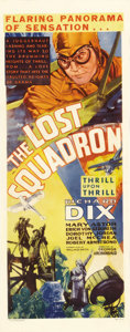 "Movie Posters:Drama, The Lost Squadron (RKO, 1932). Insert (14"" X 36""). What did theWorld War I pilots do after the war was over? They went to H..."