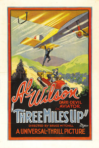 """Three Miles Up (Universal, 1927). One Sheet (27"""" X 41""""). Typical of the thrill pictures being made at Universa..."""