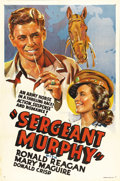 "Movie Posters:Drama, Sergeant Murphy (Warner Brothers, 1938). Other Company One Sheet(27"" X 41""). Based on a true story, this wartime drama has ..."