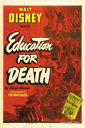 "Movie Posters:Animated, Education for Death (RKO, 1943). One Sheet (27"" X 41""). Longunavailable for viewing, with this poster being equally hard to..."