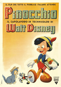 "Pinocchio (RKO, Post War-1946). Italian One Sheet (28"" X 39""). This is the post-war, first Italian release of..."