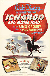 "The Adventures of Ichabod and Mr. Toad (RKO, 1949). One Sheet (27"" X 41""). Due to the belt-tightening of World..."