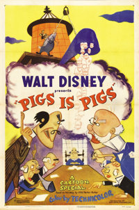 "Pigs is Pigs (RKO, 1954). One Sheet (27"" X 41""). Walt Disney's adaptation of the classic Elias Parker Butler s..."
