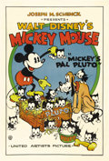 "Movie Posters:Animated, Mickey's Pal Pluto (United Artists, 1933). One Sheet (27"" X 41""). The United Artist Mickey Mouse posters are the most collec..."