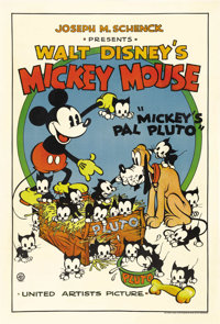 "Mickey's Pal Pluto (United Artists, 1933). One Sheet (27"" X 41""). The United Artist Mickey Mouse posters are t..."