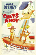 "Movie Posters:Animated, Chips Ahoy (RKO, 1956). One Sheet (27"" X 41"") Style A. Chip andDale, the chipmunks who plague Donald Duck in many classic c..."
