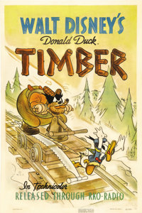 """Timber (RKO, 1941). One Sheet (27"""" X 41""""). Caught stealing food, hobo Donald Duck is forced to work in Pegleg..."""