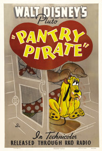 "Pantry Pirate (RKO, 1940). One Sheet (27"" X 41""). Pluto attempts to steal a ham when the maid isn't looking in..."