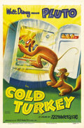"Movie Posters:Animated, Cold Turkey (RKO, 1951). One Sheet (27"" X 41"") Style A. Pluto'sraiding the fridge in this delightful short-subject cartoon ..."