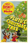 "Movie Posters:Animated, Pluto's Christmas Tree (RKO, 1952). One Sheet (27"" X 41"") Style A. In this Walt Disney cartoon short, we find Pluto and Mick..."