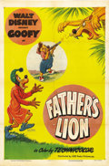 "Movie Posters:Animated, Father's Lion (RKO, 1951). One Sheet (27"" X 41""). Disney's cartoon short features Goofy's son (with his trusty pop gun), who..."