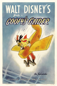 "Goofy's Glider (RKO, 1940). One Sheet (27"" X 41""). As part of the Goofy-Sports series of shorts, this Disney e..."