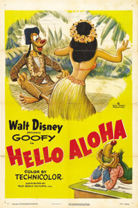 """Hello Aloha (RKO, 1952). One Sheet (27"""" X 41""""). In this Disney cartoon short, Goofy leaves the city for a more..."""