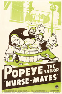 "Nurse-Mates (Paramount, 1940). One Sheet (27"" X 41""). Popeye and Bluto are given the task of taking care of Sw..."