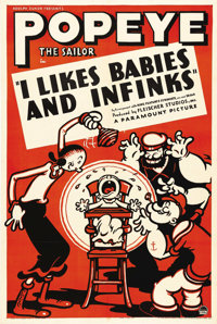 "I Likes Babies and Infinks (Paramount, 1937). One Sheet (27"" X 41""). Popeye made his newspaper debut in 1929 i..."