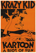 "Movie Posters:Animated, Krazy Kid Kartoon Stock Poster (Educational Pictures, 1926-28). One Sheet (26.75"" X 40""). This is a very rare one sheet to a..."