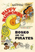 "Movie Posters:Animated, Happy Harmonies Stock Poster (MGM, 1937). One Sheet (27"" X 41"")""Bosko and the Pirates."" Very cute art for this early Techni..."