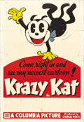 "Movie Posters:Animated, Krazy Kat Stock Poster (Columbia, 1936). One Sheet (27"" X 41""). The first cartoons adapted from George Herriman's comic stri..."