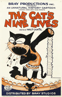 "The Cat's Nine Lives (Bray Studios, 1927). One Sheet (27"" X 41""). Bray Studios began making animated shorts in..."