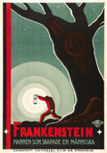 "Movie Posters:Horror, Frankenstein (Universal, 1931). Swedish One Sheet (27.5"" X 39.5"").Of all the original International posters designed for ""F..."