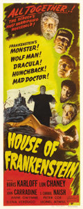 "Movie Posters:Horror, House of Frankenstein (Realart R-1950). Insert (14"" X 36""). All ofUniversal's monsters are on display - with the sole excep..."