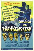 "Movie Posters:Horror, House of Frankenstein (Universal, 1944). Spanish Language One Sheet(27"" X 41""). This Universal horror one sheet, with its o..."