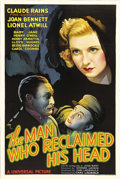 "Movie Posters:Drama, The Man Who Reclaimed His Head (Universal, 1934). One Sheet (27"" X41""). Although this poster would have you assume that Cla..."