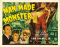 "Movie Posters:Horror, Man Made Monster (Universal, 1941). Title Lobby Card (11"" X 14"").This crossover sci-fi/horror film was Lon Chaney, Jr.'s fi..."