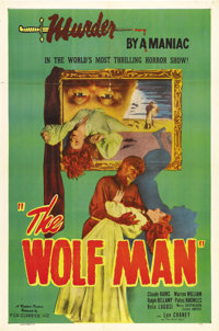 "The Wolf Man (Film Classics, R-1948). One Sheet (27"" X 41""). Lon Chaney, Jr. underwent Jack Pierce's ""spe..."