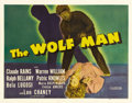"Movie Posters:Horror, The Wolf Man (Universal, 1941). Half Sheet (22"" X 28""). Lon Chaney,Jr. made his mark in the cinema with this entry in the U..."