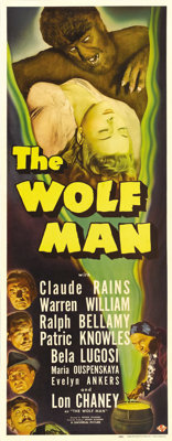 "The Wolf Man (Universal, 1941). Insert (14"" X 36""). Lon Chaney, Jr. was the star of what has become one of Uni..."