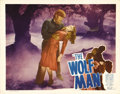 "Movie Posters:Horror, The Wolf Man (Film Classics, R-1948). Lobby Card (11"" X 14""). LonChaney, Jr. gets ready to put the bite on Evelyn Ankers in..."