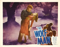 "The Wolf Man (Film Classics, R-1948). Lobby Card (11"" X 14""). Lon Chaney, Jr. gets ready to put the bite on Ev..."