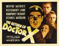 "Movie Posters:Horror, The Return of Dr. X (Warner Brothers, 1939). Half Sheet (22"" X28""). Humphrey Bogart created one of his most memorable and u..."