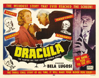 "Dracula (Realart, R-1951). Half Sheet (22"" X 28""). Bela Lugosi, as the immortal Count Dracula, appears on this..."